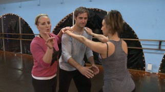 "Choreographer Mandy Moore and two dancers break down some moves in ""Learn to Dance Like Pat & Tiffany."""
