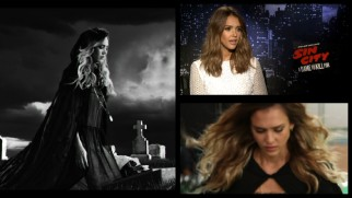 Jessica Alba's reprisal of Nancy Callahan is the subject of this split-screen showing the raw green screen footage, final film, and a promotional interview.