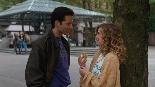Steve (Campbell Scott) raises the question of marriage to Linda (Kyra Sedgwick) in between her bites of a chili dog.
