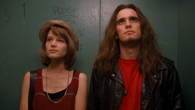 A fortuitous elevator ride holds some hope for Janet (Bridget Fonda) and Cliff (Matt Dillon).