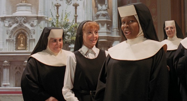 Using her lounge singer background, Sister Mary Clarence (Whoopi Goldberg) makes over St. Katherine's choir and brings out the best in her new nun friends (Kathy Najimy, Wendy Makkena).