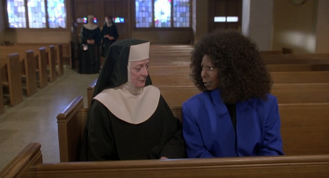 "The once disapproving Reverend Superior Mother (Maggie Smith) begs Deloris (Whoopi Goldberg) to get back in the habit at the beginning of ""Sister Act 2."""