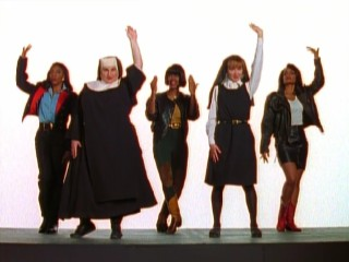 "In character, Kathy Najimy and Wendy Makkena join R&B group Lady Soul in their music video for ""If My Sister's in Trouble."""