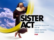 The original Sister Act DVD's menu meanwhile places Whoopi inside a heavenly ring.