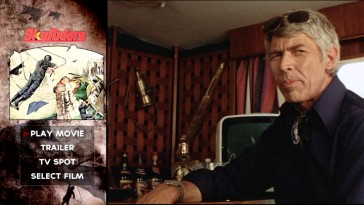 James Coburn plays it cool across from poster art on the Sky Riders main menu.
