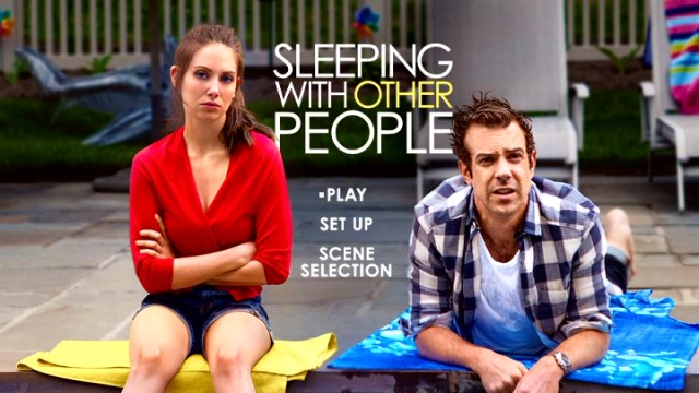 Alison Brie and Jason Sudeikis strike discontented poses on the poster-adapted Sleeping with Other People DVD main menu.