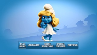 Lone girl Smurfette pops up on the DVD's main menu.