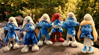 We're not in Smurf Village anymore! Six Smurfs arrive in New York's Central Park.