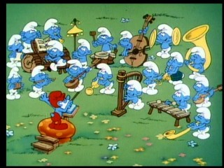 "The merry music-making of the 19-piece Smurf orchestra gets cut short by a forest fire in ""The Cursed Country."""
