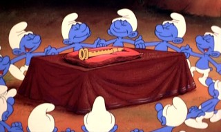 Eleven Smurfs dance happily around their newly-forged magic flute.