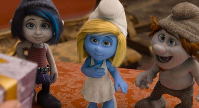Smurfette somehow feels better appreciated in the company of her new gray friends, the Naughties Vexy and Hackus.
