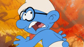 "Brainy Smurf is frightened in ""The Smurfs: The Legend of Smurfy Hollow."""