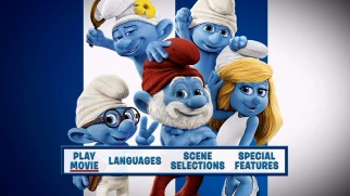 The Smurfs 2's DVD doesn't get the animated menus of the Blu-rays, having to settle for static Smurf shots like this.