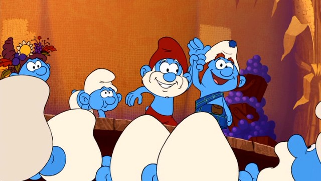 While Brainy Smurf is trapped back in Sleepy Hollow, Papa Smurf is crowning Gutsy Smurf the winner of the Smurfberry Hunt at the annual Harvest Festival.