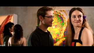 A gallery exhibits the art of Snowden's girlfriend Lindsay Mills (Shailene Woodley) in this deleted scene.