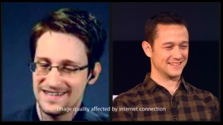 An Internet connection isn't to blame for you seeing double, as a Q & A split-screen shows both Edward Snowden and the actor portraying him, Joseph Gordon-Levitt.