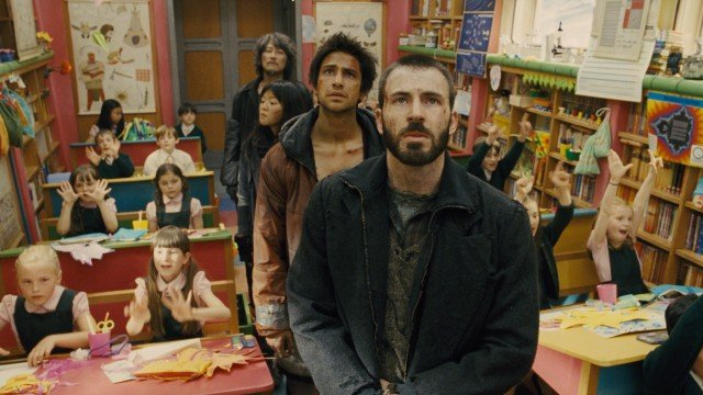 "In #36, ""Snowpiercer"", a revolution led by Curtis Everett (Chris Evans) happens upon a colorful children's classroom that fills one of the train's countless varied cars."