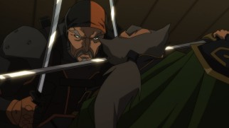 "Slade Wilson, a.k.a. Deathstroke, attacks his old nemesis Ra's al Ghul in the opening of ""Son of Batman."""