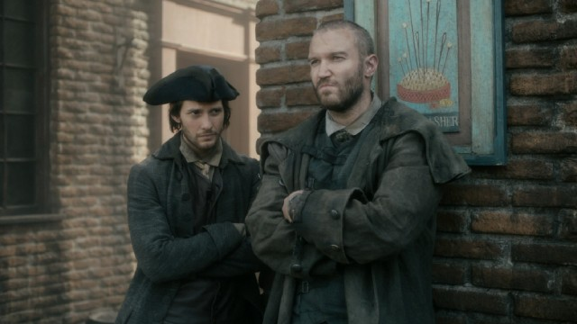 "The 2015 History miniseries ""Sons of Liberty"" reimagines Sam Adams (Ben Barnes), seen here with battle-scarred Tim Kelly (Diarmaid Murtagh), as a rogue badass bachelor."