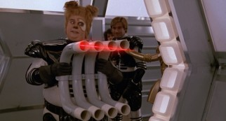 Barf (John Candy) turns the tables on Spaceball troopers by returning their laser fire back towards them.