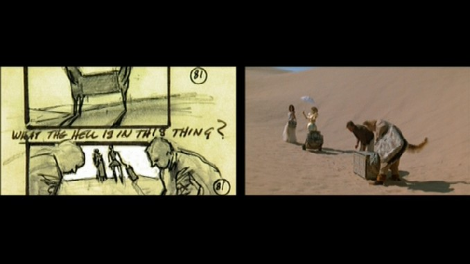 Harold Michelson's storyboards are compared to the final film.