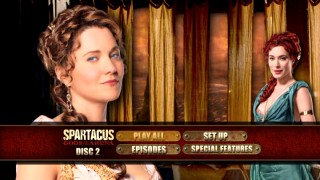 Privileged leading ladies Lucretia (Lucy Lawless) and Gaia (Jaime Miller) share the screen on Disc 2's main menu montage.