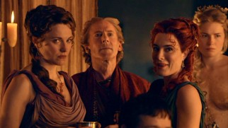 Friends Lucretia (Lucy Lawless) and Gaia (Jaime Murray) turn the House of Batiatus into a place of pleasure.
