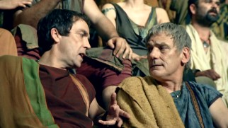 "Father-son discord between Batiatus (John Hannah) and Titus (Jeffrey Thomas) permeates three of the six ""Gods of the Arena"" episodes."