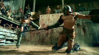 Bullet time effects afford us a striking slow motion look at the gladiator fight moves.