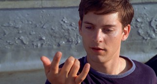 Peter Parker's (Tobey Maguire) unusual adolescent changes include the ability to shoot webs from his wrists.
