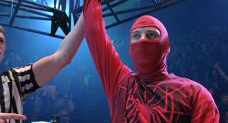 Spider-Man makes his public debut in a shabby homemade costume in a wrestling match as The Human Spider.