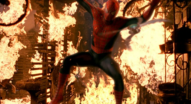Inside a burning building, Spider-Man still leaps into action to stand up to Green Goblin.