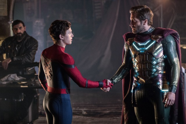 "Spider-Man (Tom Holland) meets Quentin Beck, a.k.a. Mysterio (Jake Gyllenhaal) in ""Spider-Man: Far from Home."""