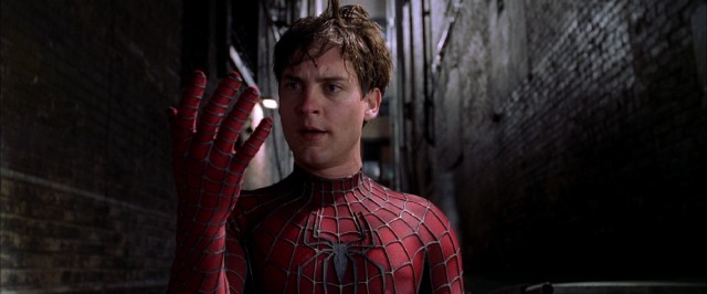 "In ""Spider-Man 2"", Peter Parker (Tobey Maguire) finds that his superpowers aren't what they used to be."