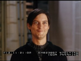 As if Peter Parker's Emo look wasn't enough, Tobey Maguire makes a goofy face in the Spider-Man 3 bloopers.