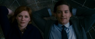 His Spidey secret out and embraced, Peter Parker (Tobey Maguire) opens this film on top of the world, enjoying a web recline with Mary Jane Watson (Kirsten Dunst).