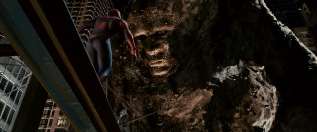 "Able to grow to great heights, Sandman dwarfs over Spider-Man in the climax of ""Spider-Man 3."""