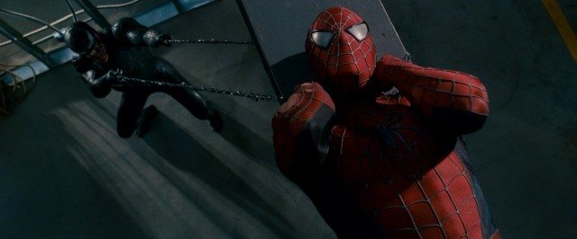 "Venom slings a symbiotic chokehold on Spider-Man near the end of ""Spider-Man 3."""