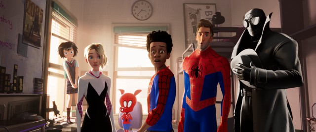 Assorted Spider-people -- Penni Parker, Spider-Gwen, Spider-Ham, Peter B. Parker, and Spider-Man Noir (voiced by Nicolas Cage) -- form a kind of surrogate Spider-family around our budding hero Miles Morales (center).