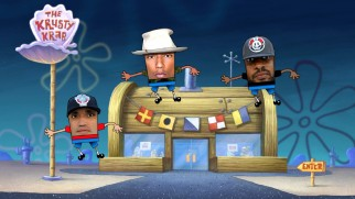 "Still photos of Pharrell Williams and his two fellow N.E.R.D. members are animated in the group's ""Squeeze Me"" music video."