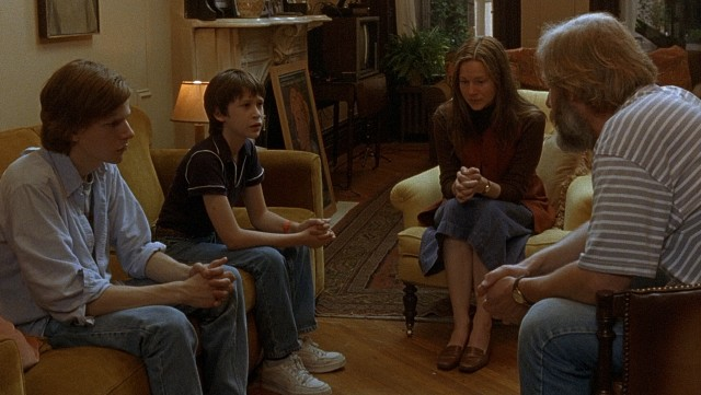 "The Berkman kids (Jesse Eisenberg and Owen Kline) sit down for a family conference in which their parents (Laura Linney and Jeff Daniels) announce their plans to separate in ""The Squid and the Whale."""