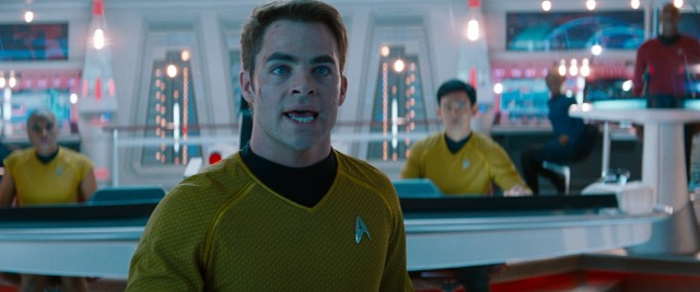 "James T. Kirk (Chris Pine) is reinstalled as the USS Enterprise, making him to blame for the excitement to come in ""Star Trek Into Darkness."""