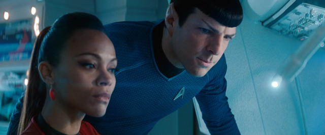 Uhura (Zoe Saldana) and Spock (Zachary Quinto) set aside their lovers' quarrel to serve and protect the USS Enterprise.