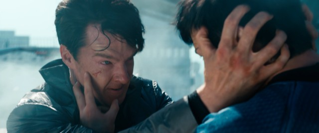 "Khan (Benedict Cumberbatch) and Spock duel it out physically and mentally in the action climax of ""Star Trek Into Darkness."""