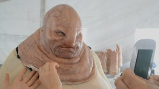 Simon Pegg's hefty junk boss Unkar Plutt is one of 105 colorful characters crafted for the film.