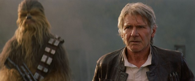 "Guess who's back, back again. Solo's back, tell a friend. Harrison Ford reprises his lovable rogue pilot Han Solo in ""Star Wars: The Force Awakens."""