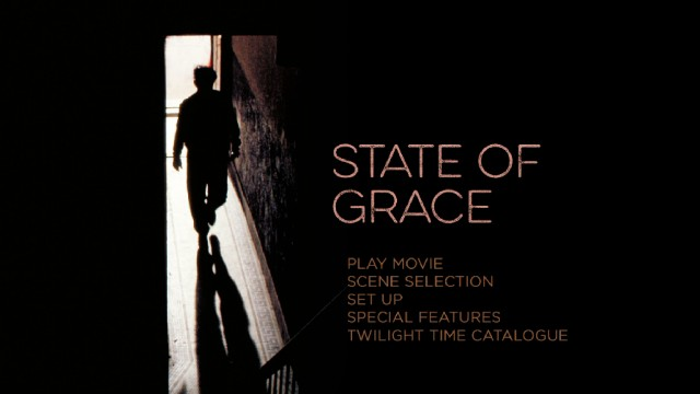 Like other Twilight Time Blu-rays, State of Grace keeps things simple with a basic menu screen adapted from original poster art.