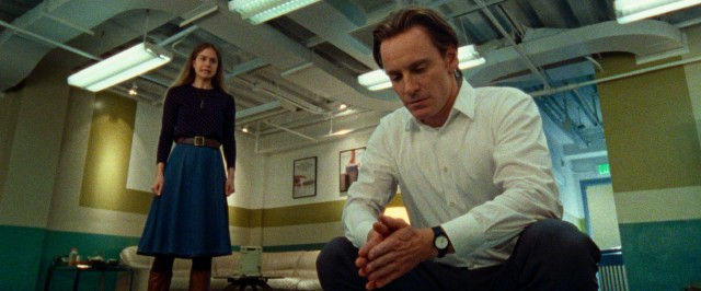 Steve Jobs (Michael Fassbender) is made uneasy by a visit from Chrisann (Katherine Waterston), his ex-girlfriend and alleged baby mama.