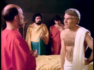 Socrates (Steve Martin) is not pleased to discover that the hemlock he just drank is poisonous.
