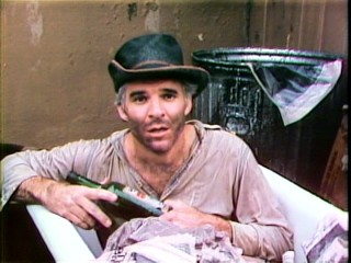 "At the end of ""A Wild and Crazy Guy"", Steve Martin envisions a future in which he is drunk, messy, broke, and living out of a bathtub."